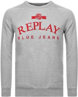 Replay Crew Neck Logo Sweatshirt Grey