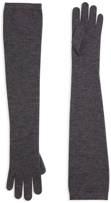 Brunello Cucinelli Stretch-Cashmere Lurex Knit Long Gloves