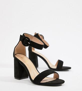 Raid Wide Fit Genna black block heeled sandals