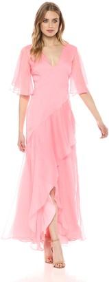 Keepsake Women's Genesis Short Flutter Sleeve V Neck Gown