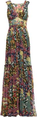 Missoni Tiered Pleated Floral-print Silk-georgette Maxi Dress