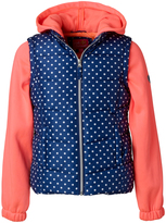 Pink Platinum Navy Polka Dot Hooded Layered Coat - Toddler & Girls