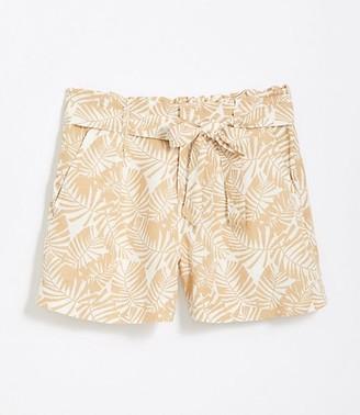 LOFT Petite Palm Tie Waist Shorts