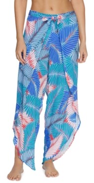 Raisins Juniors' Floral-Print Puerto Palm Cover-Up Pants Women's Swimsuit