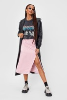 Thumbnail for your product : Nasty Gal Womens Slit Satin High Waisted Midi Skirt - Pink - 4