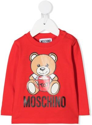 MOSCHINO BAMBINO Logo Teddy Print Long-Sleeve Top