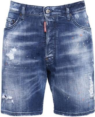 DSQUARED2 26cm Marine Fit Cotton Denim Shorts