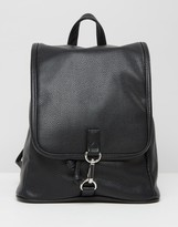 Monki Faux Leather Clasp Backpack