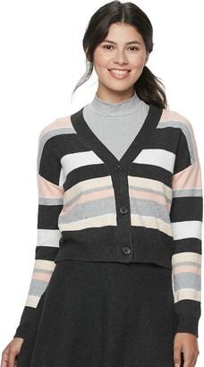 Candies Juniors' Candie's Striped Meet & Greet Cardigan Sweater