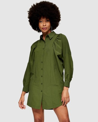 Topshop Women's Green Mini Dresses - Extreme Sleeve Shirt Dress - Size 6 at The Iconic