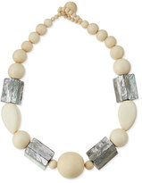 Viktoria Hayman White Wood & Abalone Shell Necklace