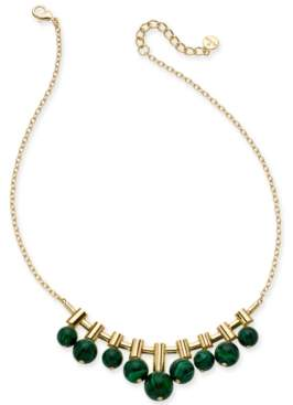 "Alfani Gold-Tone & Green Malachite Stone Collar Necklace, 16"" + 2"" extender, Created for Macy's"