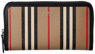 Burberry Icon Stripe E-Canvas & Leather Zip Around Wallet