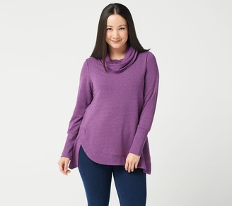 H by Halston Cowl Neck French Terry Tunic with Curved Hem