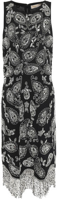 MICHAEL Michael Kors Embellished Fringed Crepe Mini Dress