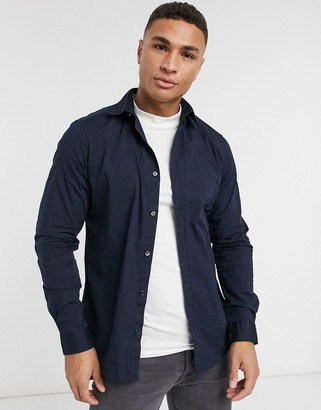 Esprit slim fit shirt with stretch in navy