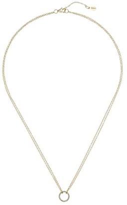 Shashi Circle Pave Pendant Necklace (Gold/Vermeil) Necklace