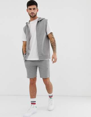 Asos Design DESIGN sleeveless tracksuit with hoodie with shorts in grey marl