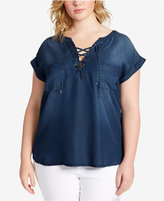 Jessica Simpson Trendy Plus Size Chambray Lace-Up Top
