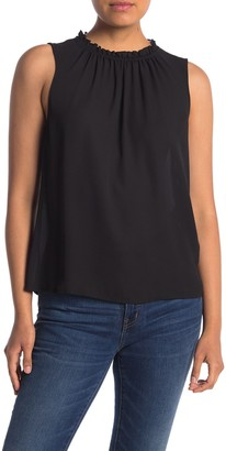 Halogen Ruffled Neck Sleeveless Blouse (Regular & Petite)