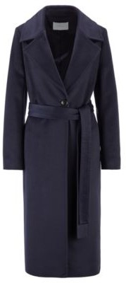 HUGO BOSS Belted-waist relaxed-fit coat in zibeline virgin wool