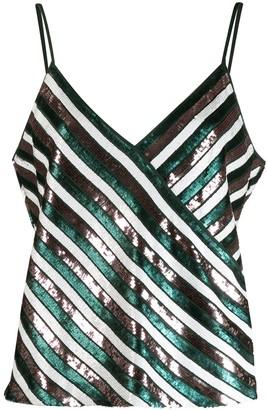Dvf Diane Von Furstenberg Sequin Striped Tank Top