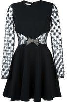 Giamba sheer longsleeved bow dress - women - Viscose/Spandex/Elastane/Polyester/Leather - 40