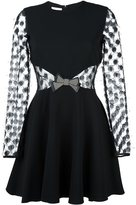 Giamba sheer longsleeved bow dress