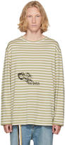 Yohji Yamamoto Beige and White Striped you Snitch T-shirt
