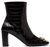 Balenciaga Double Square Bb-logo Croc-effect Leather Boots - Womens - Black Gold