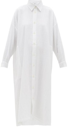 eskandar Curved-hem Linen-blend Shirt Dress - White