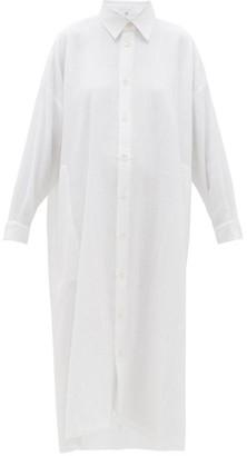 eskandar Curved-hem Linen-blend Shirt Dress - Womens - White