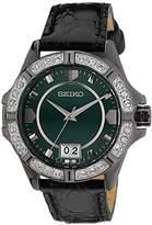 Seiko – sur805p1 – Ladies Watch – Analogue Quartz – Green Dial – Black Leather Strap