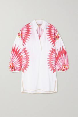 Emilio Pucci Embroidered Crochet-trimmed Voile Kaftan - White