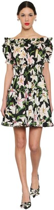 Dolce & Gabbana Printed Off Shoulder Cotton Poplin Dress