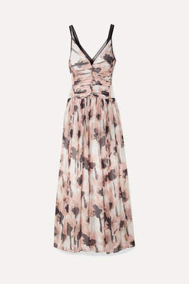 Jason Wu Tulle-trimmed Floral-print Silk-crepon Maxi Dress - Blush