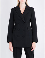 Protagonist Ladies Black Buttoned Double-Breasted Stretch-Wool Jacket