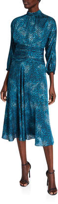 Rickie Freeman For Teri Jon Stained Glass Burnout Mock-Neck 3/4-Sleeve Draped Midi Dress