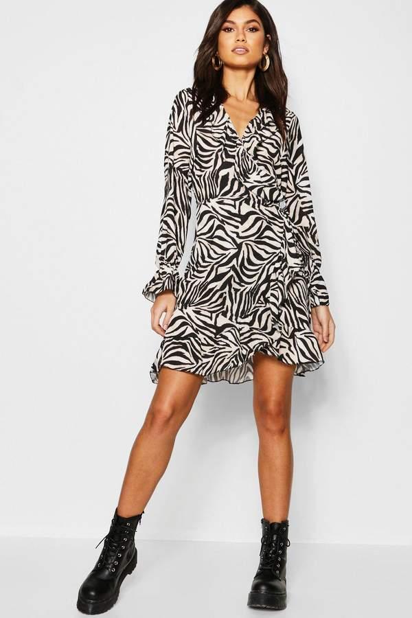 boohoo Zebra Ruffle Detail Tea Dress