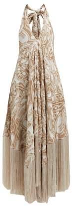 Cult Gaia Ali Halterneck Fringed Jacquard Dress - Womens - Beige Print