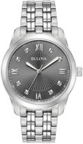 Bulova Men's Dress Diamond Accent Stainless Steel Bracelet Watch 40mm 96D132