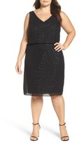 Adrianna Papell Beaded Blouson Cocktail Dress (Plus Size)