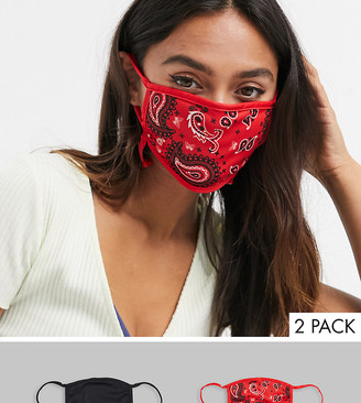 Skinnydip Exclusive 2 pack face covering with adjustable straps in plain black and red bandana print