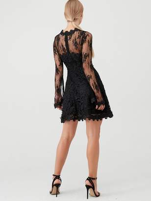 Forever Unique U Collection Long Sleeve Lace Skater Dress - Black
