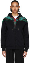 Marcelo Burlon County of Milan Black and Green Wings Zipped Hoodie