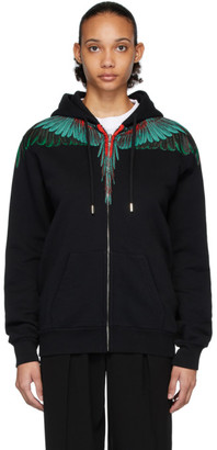 Marcelo Burlon County of Milan Black and Green Wings Zipped Hoodie