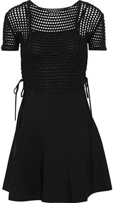 RED Valentino Lace-up Crochet-paneled Cotton-blend Mini Dress