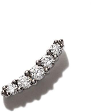 Stone Paris 18kt black gold Line button diamond earring