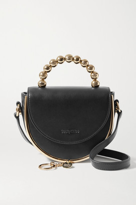 See by Chloe Mara Evening Embellished Leather Shoulder Bag - Black