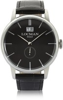Locman 1960 Silver Stainless Steel Men's Watch w/ Black Croco Embossed Leather Strap
